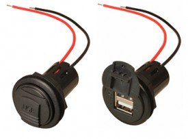 USB A-naaras 5A 2x2,5A +suoja asreikä Ø 28 mm 9-32V->5V