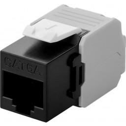 CAT6a-runko RJ45 > LSA UTP Keystone-moduuli musta