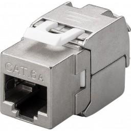 CAT6a-runko RJ45 > LSA STP ohut Keystone-moduuli metalli