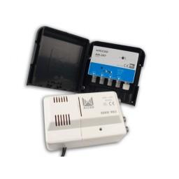 Mastovahvistin FM/VHF/UHF20-32dB 3 tuloa +verkkol. 24V, LTE700