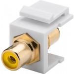RCA-naaras läpivienti, keltainen Keystone-moduuli
