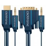 HDMI/DVI-välijohto 1,0m + 3,5mm: analogiääni -yhdistvälijoh Click