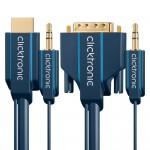 HDMI/DVI-välijohto 7,5m + 3,5mm: analogiääni -yhdistvälijoh Click