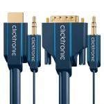 HDMI/DVI-välijohto 15,0m + 3,5mm analogiääni -yhdistvälijoh Click