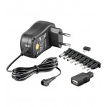Verkkolaite 100-240V>3-12V/1A 8xDC-pistoke, hakkuri +USB