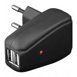 USB verkkolaturi 2,1A musta 2 USB lähtöä