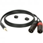 3,5mm-uros / 2x XLR-uros 2m musta