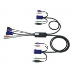 VGA USB PS2 KVM kytkin 2>1 audio HYBRID