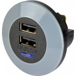 USB-laturi 9-32V -> USB 5V 3A 2xUSB edestä asennettava