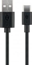 USB-välij A-uros/C-uros 2m lataus ja synkronointi musta