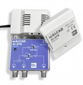 Pientalovahvistin 2lähtöä LTE700 UHF 12-24dB, VHF/FM (-2)-14dB