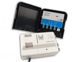 Mastovahvistin FM/VHF/UHF20-32dB 3 tuloa +verkkol. 24V, LTE700-su