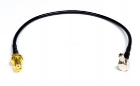 RF-adapterivälijohto SMA-naaras SW9/TS9 kulma 0,2m sis holkki